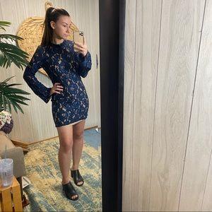 NWOT WAYF Navy Blue Lace Appliqué Dress S